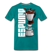 Espuma Dissected Cafetera Men's Premium Cut Crew T-Shirt - teal