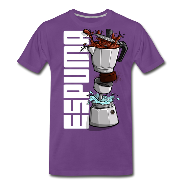 Espuma Dissected Cafetera Men's Premium Cut Crew T-Shirt - purple