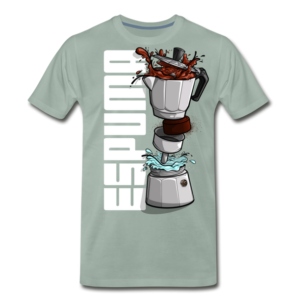 Espuma Dissected Cafetera Men's Premium Cut Crew T-Shirt - steel green