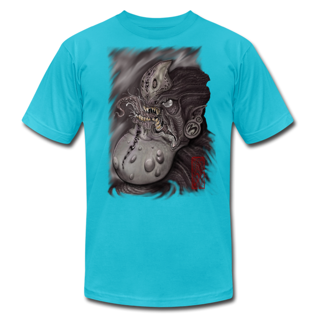 Gnarly Alien Print Unisex Crew T-shirt - turquoise