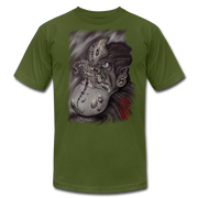 Gnarly Alien Print Unisex Crew T-shirt - olive