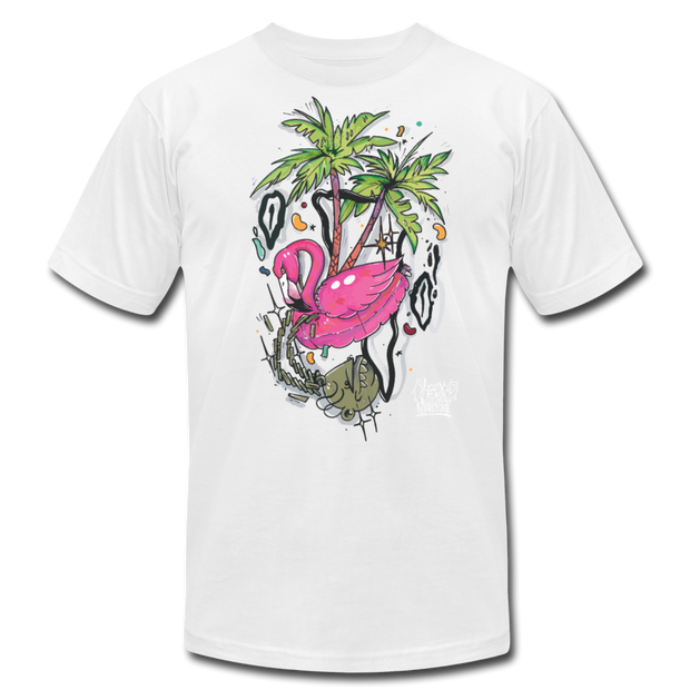 Flamingo Floatie Unisex Graphic Crew T-shirt - white