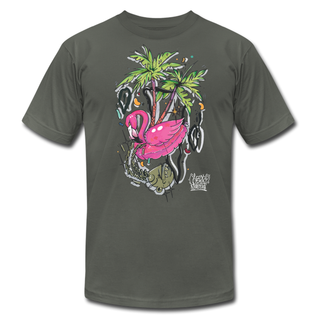 Flamingo Floatie Unisex Graphic Crew T-shirt - asphalt