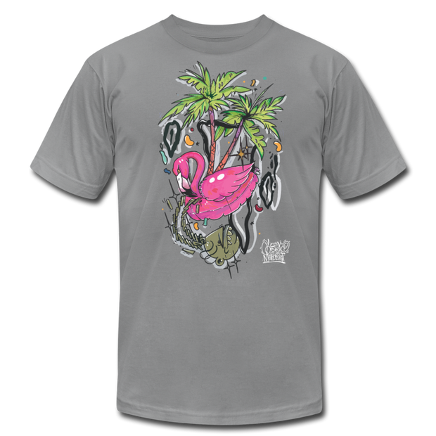 Flamingo Floatie Unisex Graphic Crew T-shirt - slate