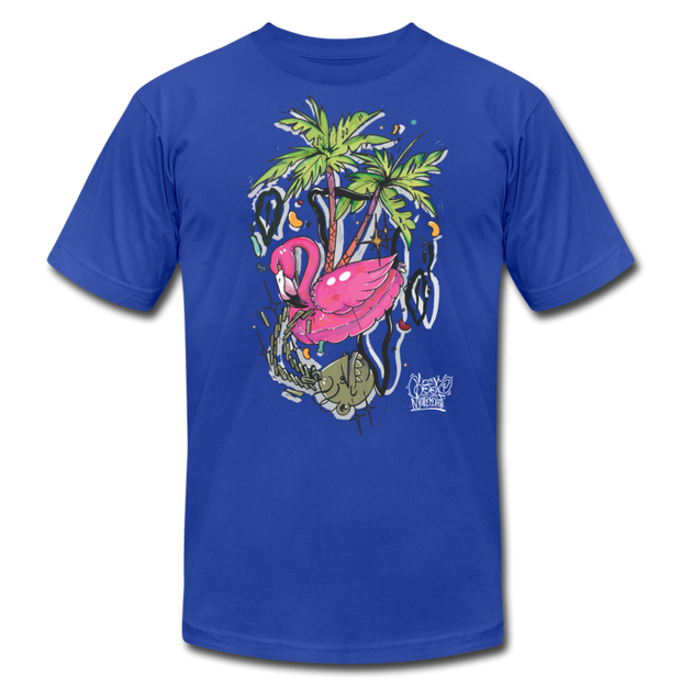 Flamingo Floatie Unisex Graphic Crew T-shirt - royal blue