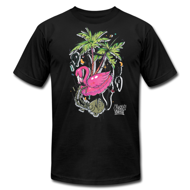 Flamingo Floatie Unisex Graphic Crew T-shirt - black