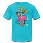 Flamingo Floatie Unisex Graphic Crew T-shirt - turquoise