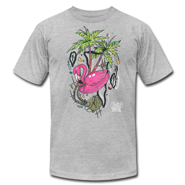 Flamingo Floatie Unisex Graphic Crew T-shirt - heather gray