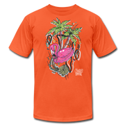 Flamingo Floatie Unisex Graphic Crew T-shirt - orange