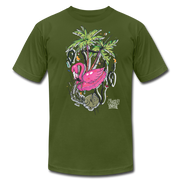 Flamingo Floatie Unisex Graphic Crew T-shirt - olive