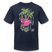 Flamingo Floatie Unisex Graphic Crew T-shirt - navy