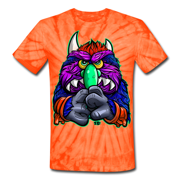 Gnarly Monster Pet Unisex Tie Dye T-Shirt - spider orange