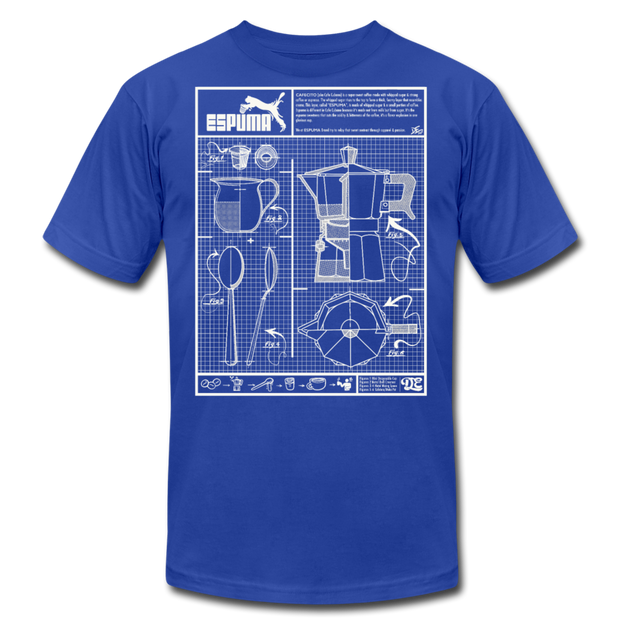 Cafecito Blueprint OG Unisex Crew T-Shirt NEW - royal blue