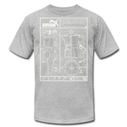Cafecito Blueprint OG Unisex Crew T-Shirt NEW - heather gray