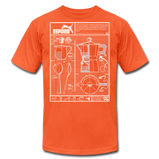 Cafecito Blueprint OG Unisex Crew T-Shirt NEW - orange