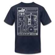 Cafecito Blueprint OG Unisex Crew T-Shirt NEW - navy