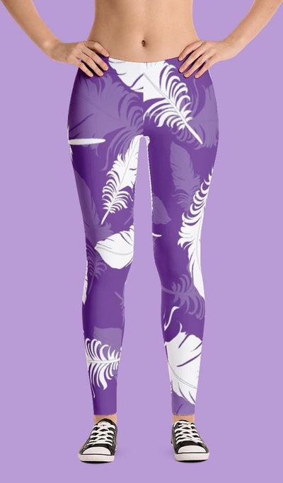 Feathers Minimalist Print Leggings - Devious Elements Apparel