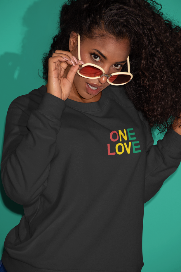 One Love Tri Color Embroidered Unisex Crew Sweatshirt