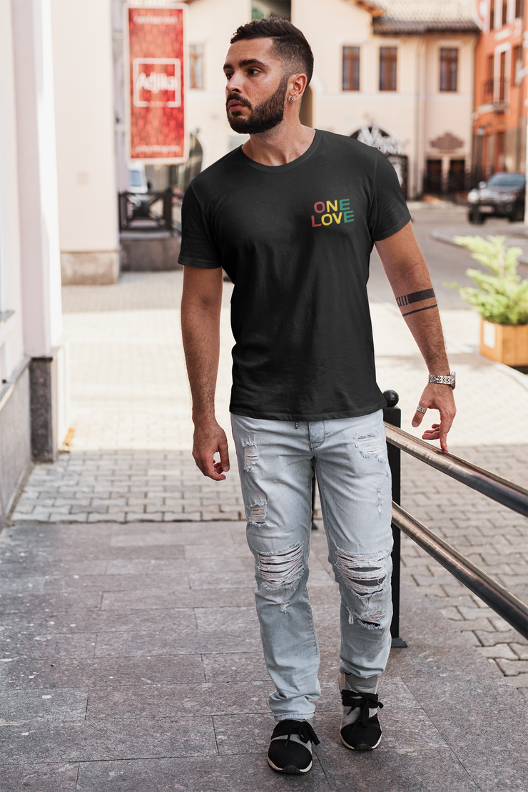 One Love Tri Color Embroidery Chest Unisex Crew T-Shirt