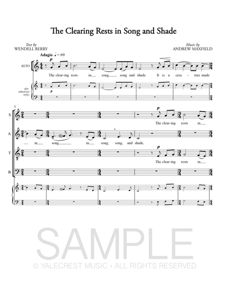 The Clearing Rests in Song and Shade (PDF Sheet Music)