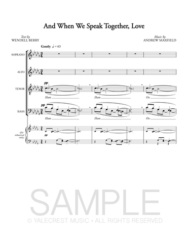 And When We Speak Together, Love (PDF Sheet Music)