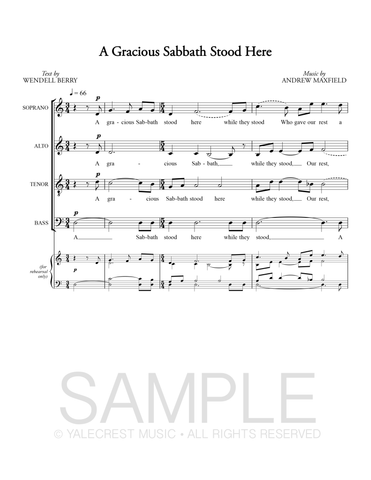 A Gracious Sabbath Stood Here (PDF Sheet Music)