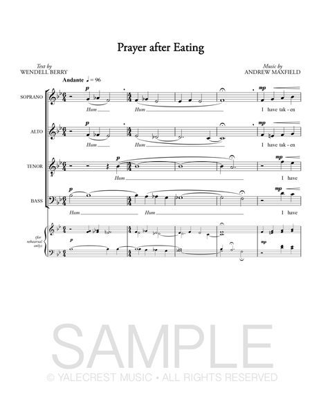 Payer After Eating (Sheet Music)