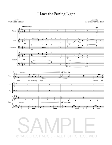 I Love the Passing Light (PDF Sheet Music)