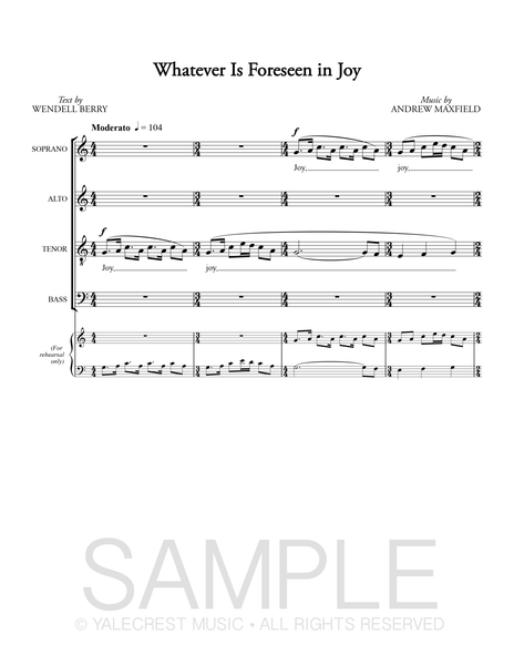 Whatever Is Foreseen in Joy (Sheet Music)
