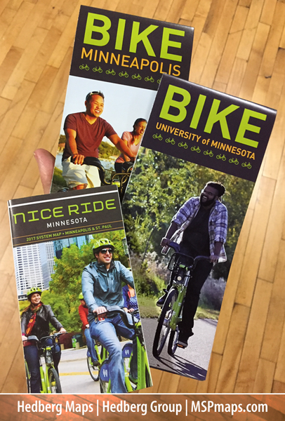 Hedberg Maps has created the printed mapping for Nice Ride since its inception in 2010