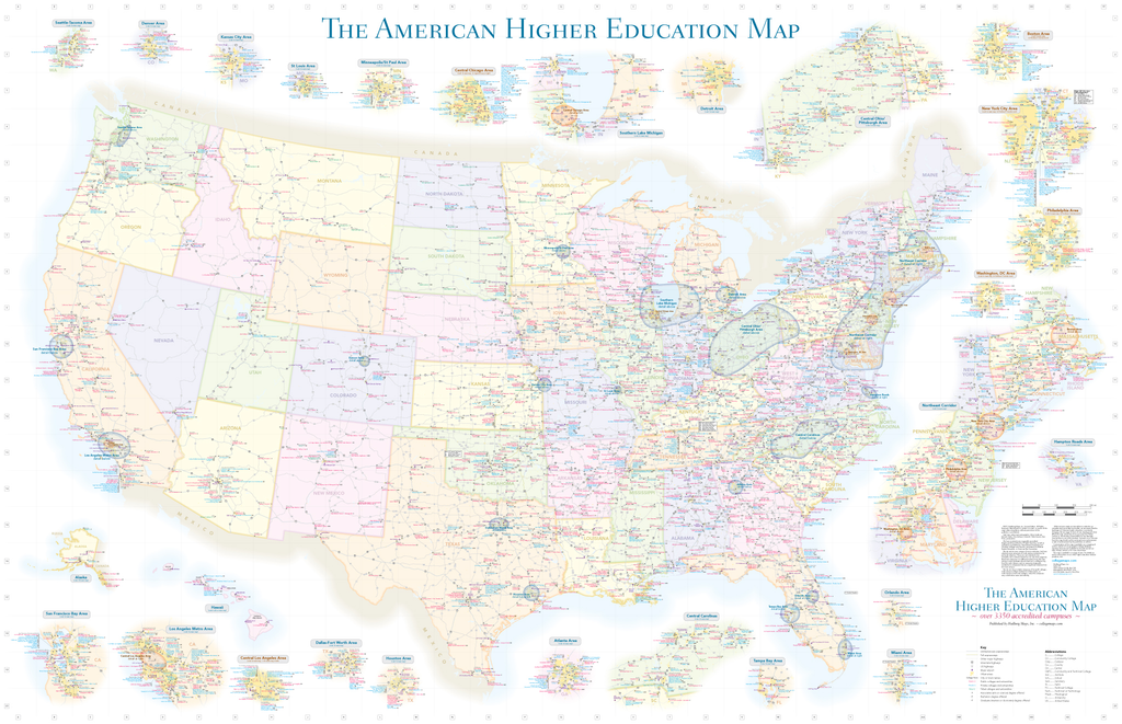 American Higher Education - Wall Map - August 2020 edition