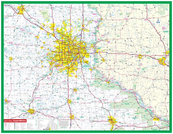 Twin Cities SuperMetro Laminated Wall Map - Greater MInneapolis ...