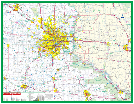 Twin Cities SuperMetro Laminated Wall Map - Greater MInneapolis/Saint Paul Area