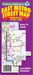 East Metro Street, Cover, Hedberg Maps, Professor Pathfinder's, Twin Cities, Minneapolis, St. Paul, southern Washington County, Hastings, River Falls, Hudson, WI, streets, parks, schools, shopping, trails, government offices