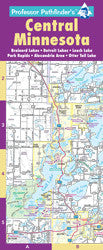 Central, Minnesota, Hedberg Maps, Professor Pathfinder's, Minnesota's outdoor playground, regional map, Fargo, Iron Range, St Cloud, cabin, Brainerd Lakes, Whitefish Chain, Woman Lake Chain, southern Leech Lake, Park Rapids, Detroit Lakes, Ottertail Lake, Alexandria/Osakis, complete lakes index, Brainerd/Baxter, Little Falls, major resorts, attractions, boat launches, golf courses, moisture resistant, Brainerd Lakes, Minnesota's vacationland
