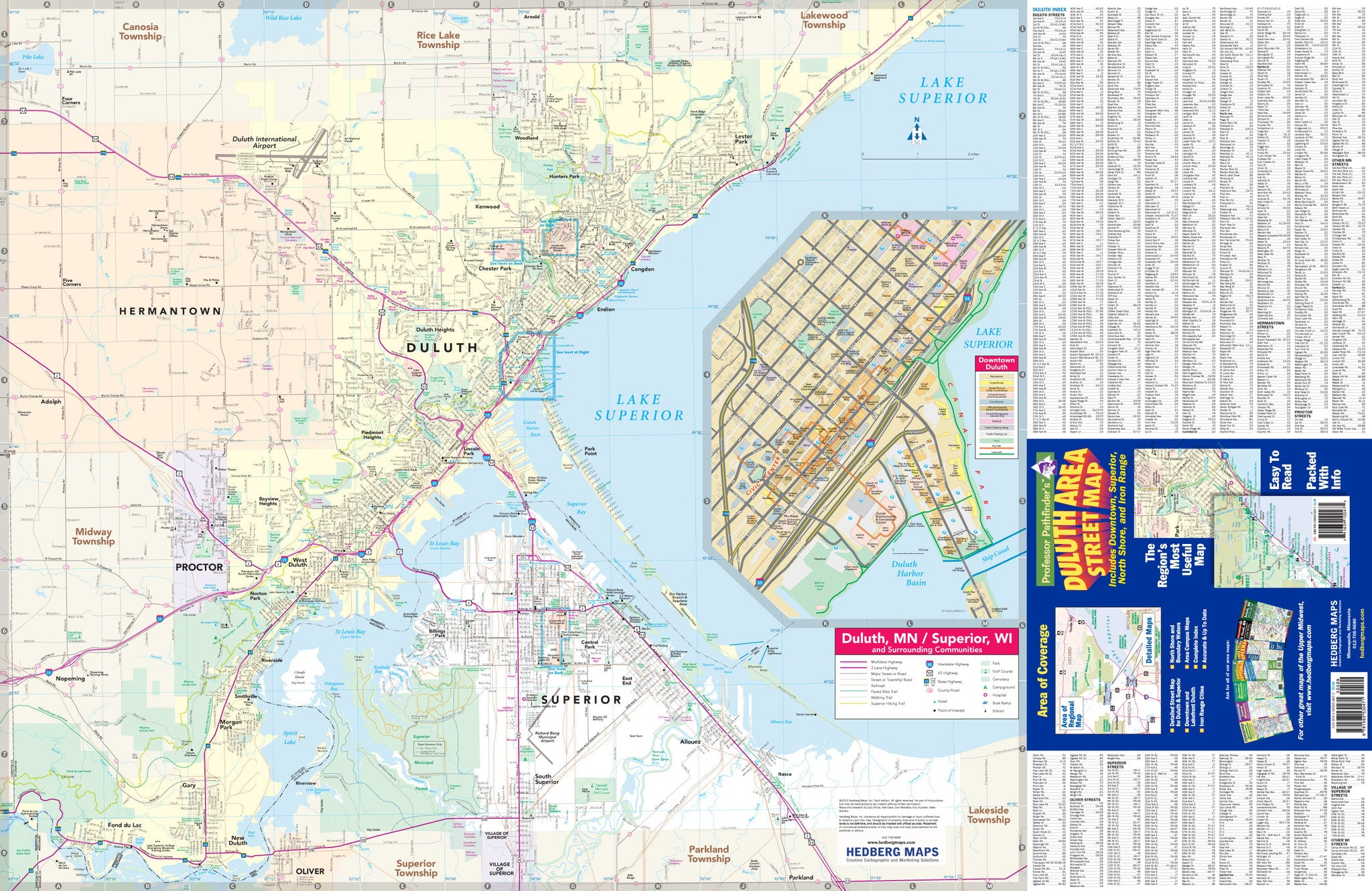 Map Of Duluth Mn Duluth, MN, Area Street Map – Hedberg Maps