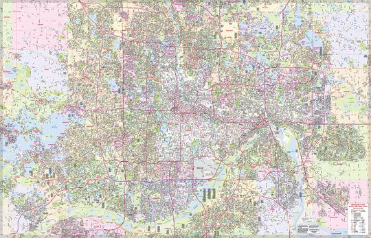 Twin Cities Streets Complete Street Map 1,000 Square Miles