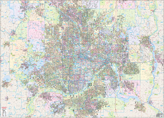Twin Cities Streets Complete Street Map 2,000 Square Miles