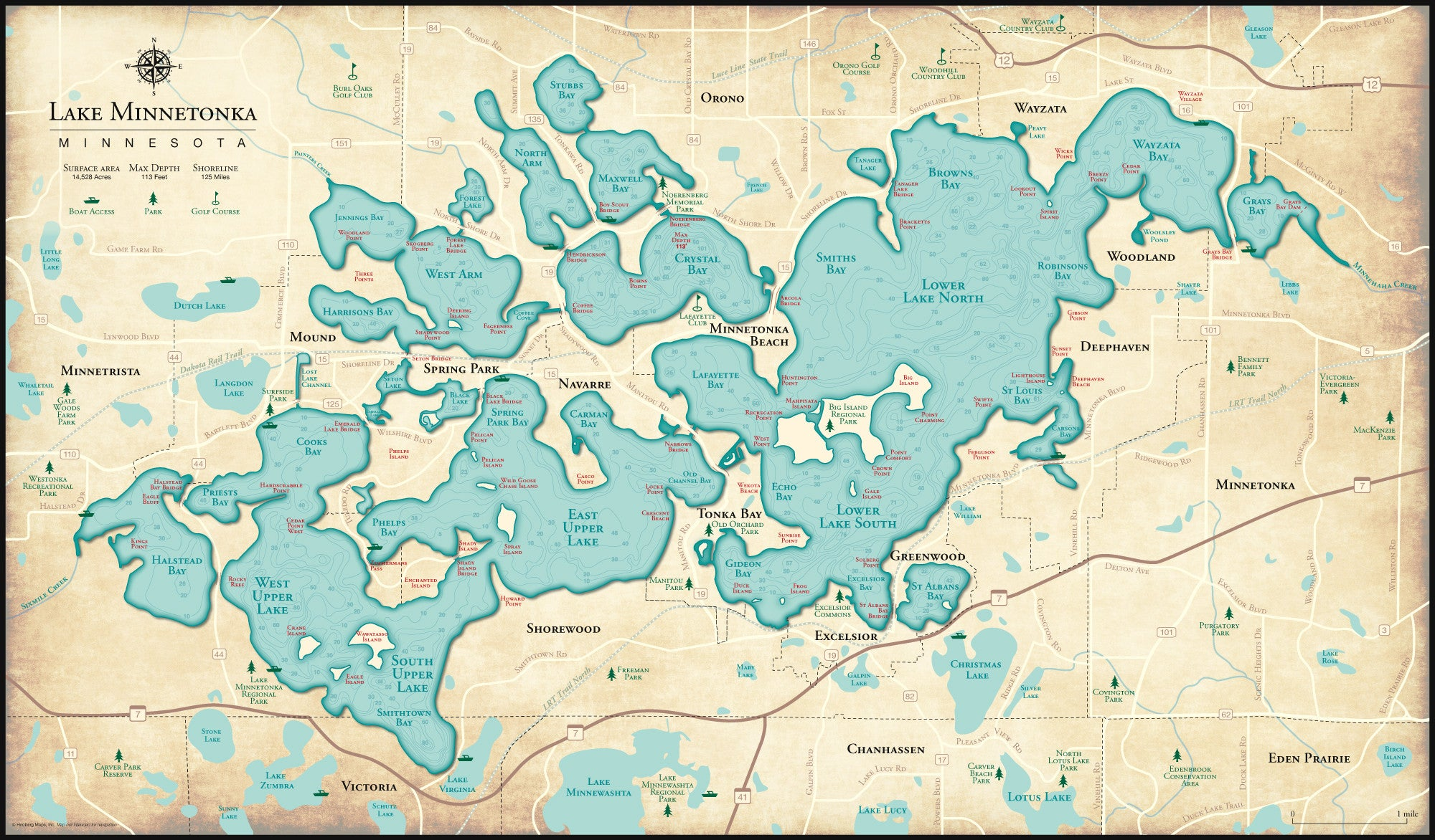 Map Of Lake Minnetonka Lake Minnetonka – Hedberg Maps Map Of Lake Minnetonka