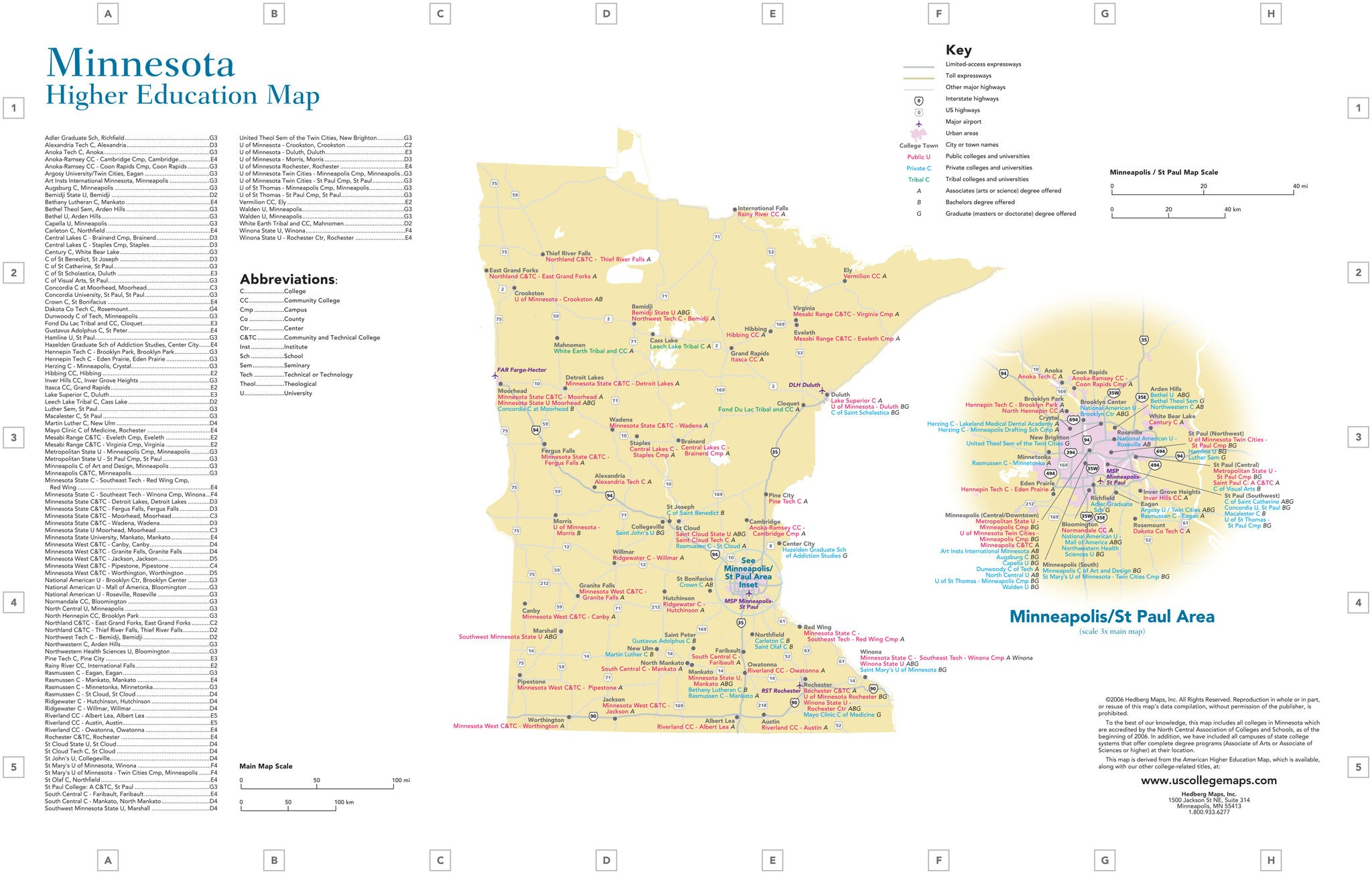 US Colleges Universities by State 11 x 17 laminated