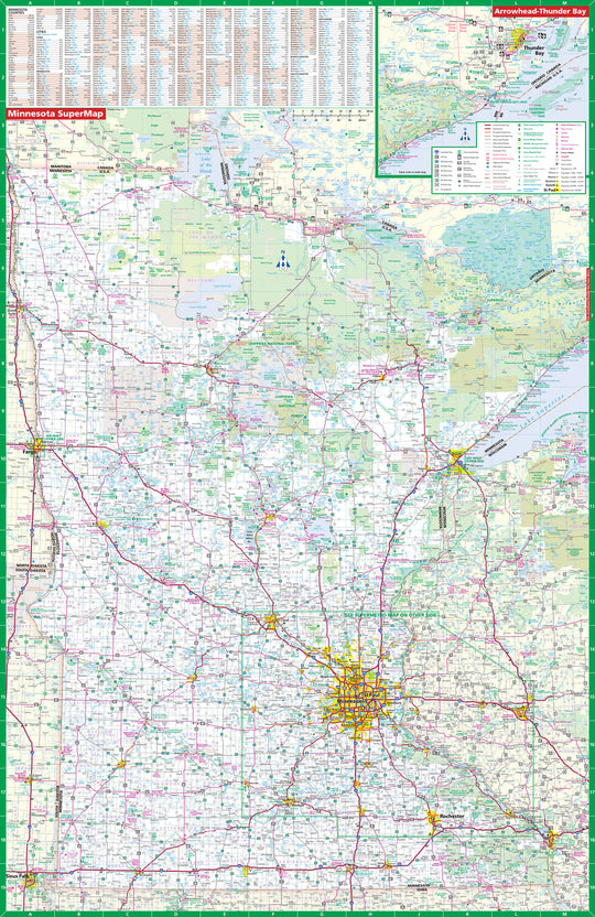 Minnesota SuperMap Laminated Wall Map