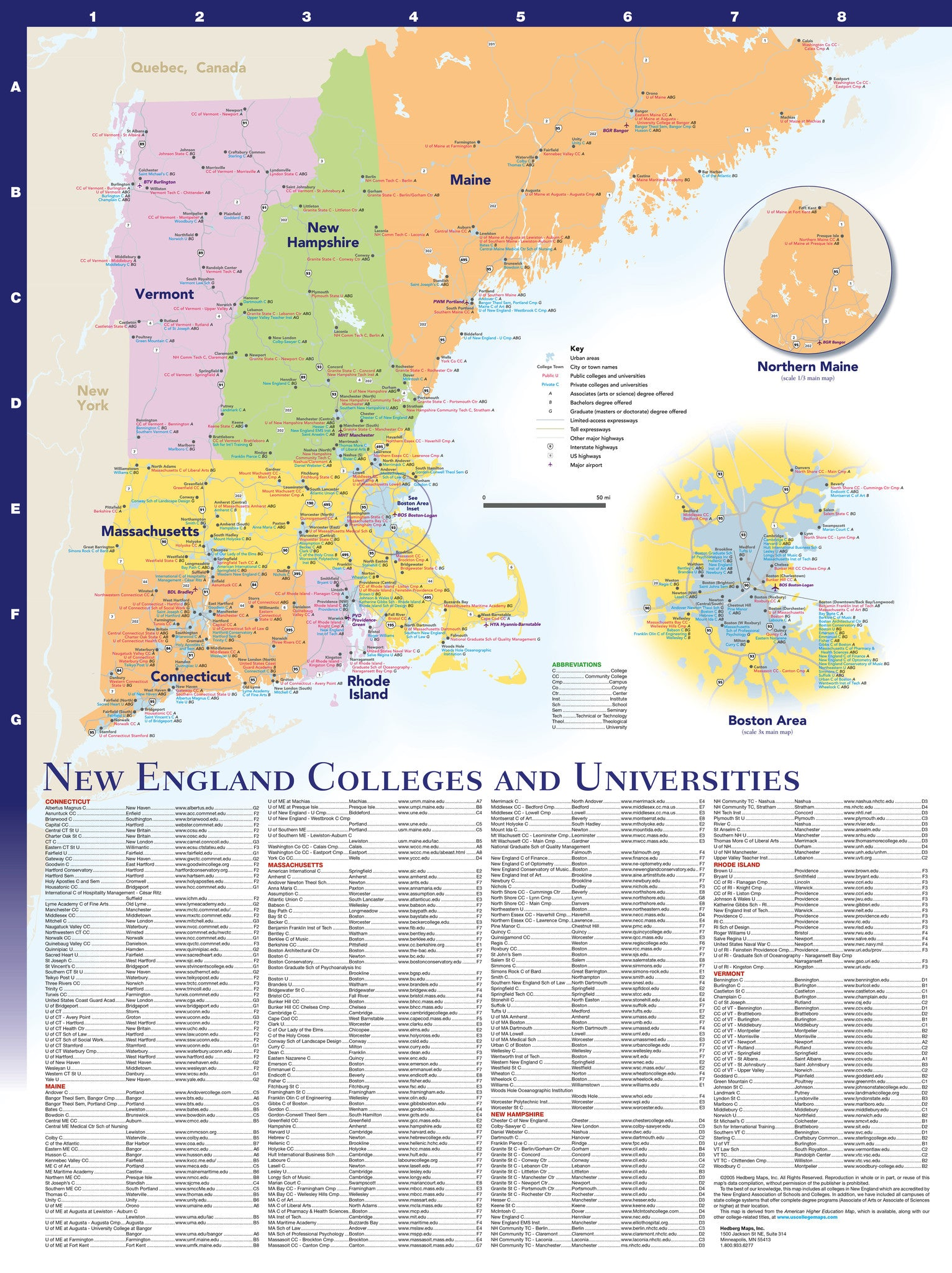 New England Colleges and Universities – Hedberg Maps