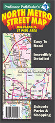 North Metro Street, Cover, Hedberg Maps, Professor Pathfinder's, Twin Cities, Minneapolis, St. Paul, White bear Lake, east Forest Lake, Ramsey, west Maple Grove, streets, parks, schools, shopping, trails, government offices