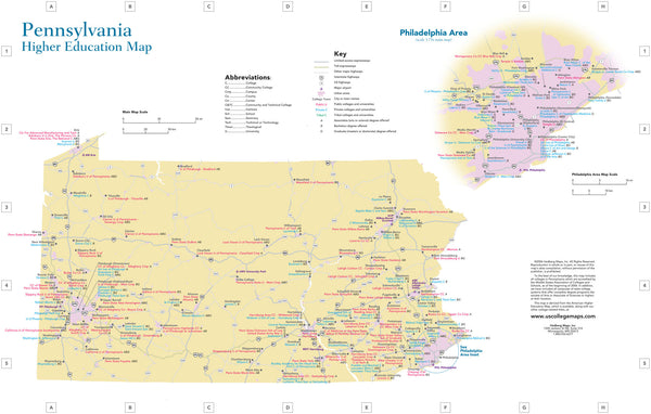 "U.S. Colleges & Universities by State - 11"" x 17"" laminated"