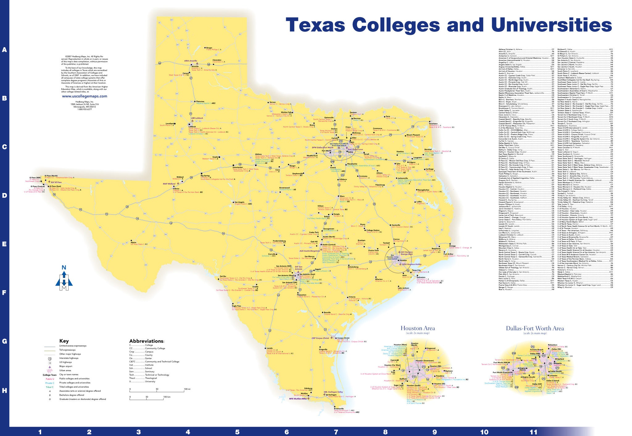 Texas Colleges And Universities Hedberg Maps