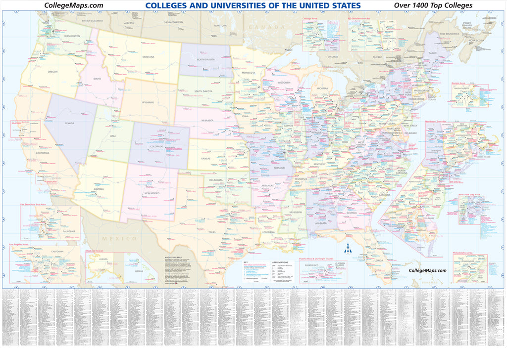 U.S. College & University Reference Map 7th Edition - Folded Paper