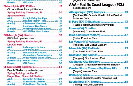 Baseball Teams and Attractions 2020 - laminated wall map