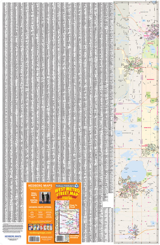 West Metro Street, Index, Hedberg Maps, Professor Pathfinder's, Twin Cities, Minneapolis, St. Paul, US 169, Waconia, Delano, Lake Minnetonka, Maple Grove, Shakopee, streets, parks, schools, shopping, trails, government offices