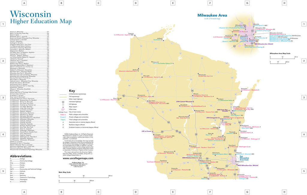 Colleges Universities Hedberg Maps - Wisconsin-on-map-of-us