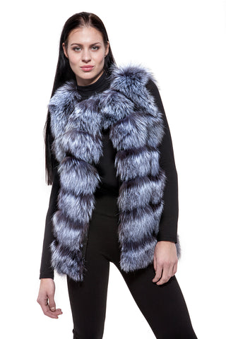 Black and white fur vest